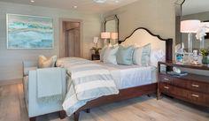 Contemporary beach design, Barclay Butera Interior Design, Laguna Beach California, coastal master bedroom, bedroom decor and design, soft blue bedroom, white headboard, blue bedding, coastal beach art