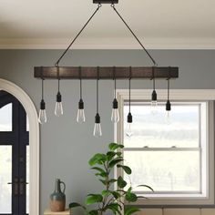 Laurel Foundry Modern Farmhouse Brodie 8 - Light Kitchen Island Bulb Pendant with Nylon Accents Farmhouse Sink Kitchen, Island Kitchen, Farmhouse Décor, Vintage Farmhouse, Kitchen Countertops, Kitchen Lighting Fixtures, Kitchen Island Light Fixtures, Kitchen Island Lighting Modern, Lights For Kitchen