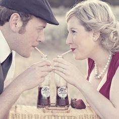 This 1940s inspired engagement shoot is a must see! Adorable Save-the-Date idea! (image via Amen Photography)