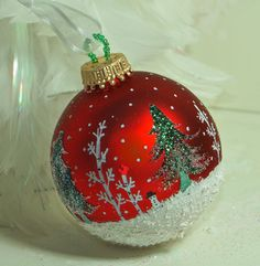 Cardinals, Snowman, Snowy Evergreen Trees N Aspens in a Wintery Snow Scene, Rich Red Handpainted Ornament with Falling snow, Great Gift
