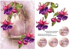 Soft Pink And Purple Fuschias on Craftsuprint designed by Anne Lever - This lovely topper features gorgeous fuschias with a pretty soft background. It has a single layer of decoupage to add depth and four greetings to choose from. The greetings are birthday wishes, happy mother's day, mum and to my friend.  - Now available for download!