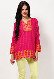 Printed Pink Cotton Kurta