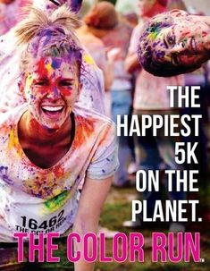 "The 2012 COLOUR RUN is currently touring through 20 U.S. cities. The only requirement is wearing a white shirt. Throughout the run, participants are doused in bright pigments (cornstarch that is 100% natural and safe). Each kilometer is focused on a specific color – 1k is yellow, 2k is blue, 3k is green, 4k is pink, and the 5k finish is a ""Colour Extravaganza"" where a rainbow of hues are thrown."