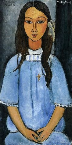 """Amedeo Modigliani (Livorno, Italy 1884-1920). Painting, sculpture. Expressionism. """"Alice""""."""