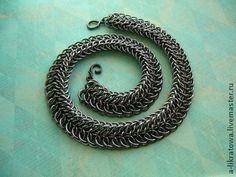 """Ошейник """"Последний дракон"""" - чёрный,сталь,стальной,кольчужное плетение"""