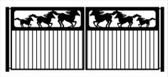 Equestrian Driveway Gate Horse Ranch Style Metal Art Garden Wrought Iron 10 Ft | eBay