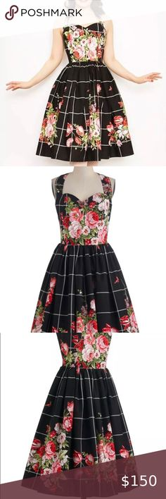 Bernie Dexter Belle Dress in Floral Bouquet - M Bernie Dexter Pin Up Belle Halter Dress in Floral Bouquet is a classic style in a bold beautiful print! Features ruched and structured sweetheart neckline with boning for support, center back zipper in back & hidden lipstick pockets.   Size Medium Bust 16 inches Waist 13 inches  Hips: open Bernie Dexter Dresses