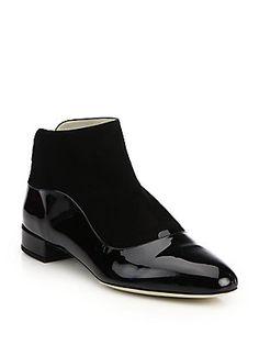 Giorgio Armani Mixed Media Leather Ankle Boots