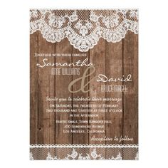 Rustic White Lace and Wood Wedding Invitation. Part of the Rustic White Lace and Wood Wedding Stationery Set. Barn Wedding Invitations, Wedding Stationery Sets, Rehearsal Dinner Invitations, Rustic Invitations, Wedding Rsvp, Wedding Invitation Design, Wedding Ideas, Lace Wedding, Invites