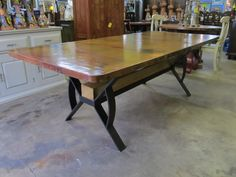 Copper Modern Design Dining Table at Barrio Antiguo Furniture in Houston