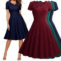 Take it back to the 50's in this vintage inspired cocktail dress. Unique neck line, back zipper, short sleeves, knee length and made of 64% Cotton, 32% Nylon and 4% Spandex. This dress is available in three color choices: Red Wine, Navy Blue and Green.    Available in US sizes 4 - 16. Please see our size chart for exact measurements on each size.    This item ships within seven (7) days to US addresses. 📦 This item is currently not available to ship outside the US.  | Shop this product…
