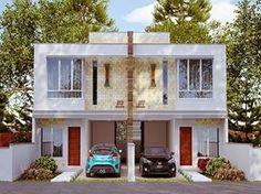 Projetos-de-sobrados-com-6-metros-de-frente Townhouse Designs, Duplex House Design, Modern House Design, Duplex House Plans, Dream House Plans, House Arch Design, Cluster House, Modern Bungalow House, House Elevation