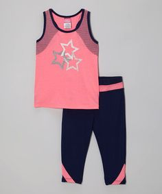 Dainty darlings will love getting their stretch on in this yoga-friendly set. The racerback tank and stretchy pants are perfect for moving freely, while the vibrant hues and graphics keep the look fashionably fun! #kids #clothes