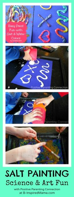 Salt & Watercolor Painting with Positive Parenting Connection at B-InspiredMama