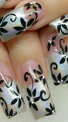 ideas nails ombre glitter white manicures for 2019 New Nail Designs, French Nail Designs, Black Nail Designs, Fancy Nails, Trendy Nails, Sparkle Nails, Acrylic Nail Art, Acrylic Nail Designs, Beautiful Nail Art
