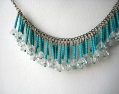 Blue necklace and earrings set seed beads fringe by foxfragaria, $32.00