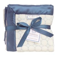 *more than 35% off* SwaddleDesigns - Stroller Blanket - Ivory with Blue Puff Circle and True Blue Satin #BabyGift