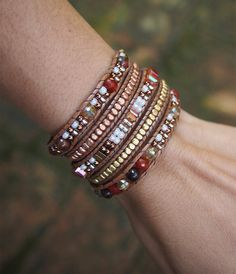 5 times Wrap Bracelet Brown Crystal beaded mix Boho от G2Fdesign