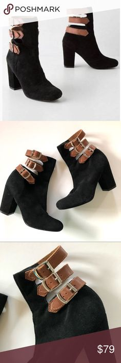 """Anthropologie suede buckled mid boots • Pied Juste Super cool black suede boots by Pied Juste from Anthropologie! Size 39. Brown leather buckles across the back. Gently worn in great condition! Some faint markings on one heel, see last pic. 3.5"""" covered heel. Anthropologie Shoes Ankle Boots & Booties"""
