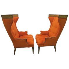 Pair of Regency Modern Tall Wing Back Walnut Chairs Mid-Century Tomlinson 1