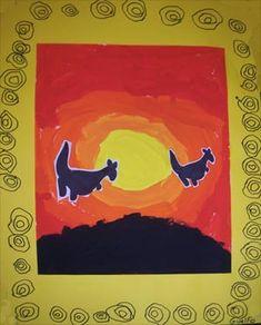 silhouettes de kangourous