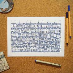 """Ilustração """"Bairro Inglês"""" da coleção de ilustrações """"Cidades Azuis"""" por Gabriel Dyonisio."""