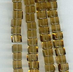 16 CENTS PER INCH ~ $2.50 FOR 16 INCHES  (4mm)  ~~ Smokey Brown Glass Cube Beads ~~ RockNBeads