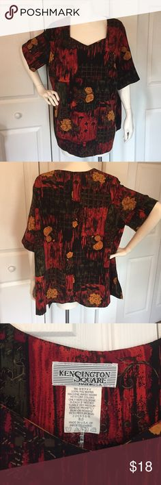 """KENSINGTON SQUARE Top sz  18 Multi print on a short sleeve top.  Size tag has bee detached, size 18, 28"""" long x 23"""" across.  100% polyester.   The picture doesn't quite capture how interesting this is!  Excellent condition. Tops Blouses"""