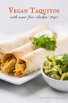 """Have a quick and easy meat-free meal with these Vegan """"Chicken"""" Taquitos. Made with meat-free chicken strips, it's easy and delicious! Quick Vegan Meals, Vegan Recipes Beginner, Easy Vegan Dinner, Recipes For Beginners, Vegan Mexican Recipes, Delicious Vegan Recipes, Vegetarian Recipes, Healthy Recipes, Vegetarian Mexican"""
