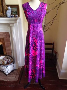 VINTAGE LILLY HAWAIIAN MAXI 8 PURPLE HOT PINK PULITZER Womens Dress MEDIUM LONG #VintageHawaiian #Maxi #Casual