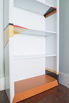 I like the pops of color - bookcase for girls closet