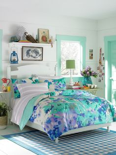 @Haley Bradfield :    From the super-pretty watercolor floral print to the soft, sweet shades of aqua and  lavender, this Teen Vogue Lilac Hill comforter set will create a chic  oasis in your bedroom. Get it now at Bed Bath & Beyond here »  Bonus: Make your bedroom coastal-chic with these easy style tips »