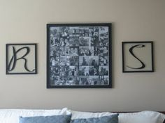 Couples collage for master bedroom- Such a unique idea for a headboard too.