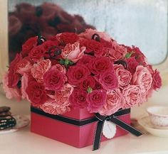 Beautiful Valentine Table Decoration Ideas: Pink Gift Box with Rose Flower for Valentine Day – Home Design Ideas