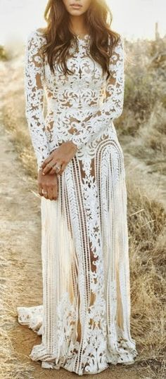 Charming Long White Bohemian Lace Dress