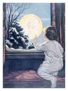 Santa Claus Moon  Giclee Print|By Katherine R. Wireman