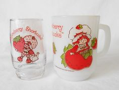 American Greetings Strawberry Shortcake Opal Anchor Hocking Mug and Juice Glass by WeBGlass on Etsy