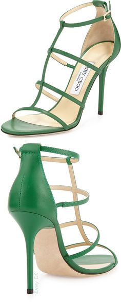 Jimmy Choo ~ Emerald Green T-Strap Sandals