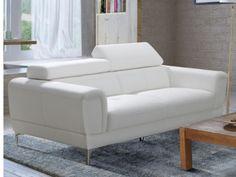 Canapé 3 places en simili - Blanc- MOLIERE