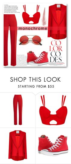 """""""Lady in red"""" by tauriel25 ❤ liked on Polyvore featuring MaxMara, Hebe Studio, Converse, ZeroUV, monochrome and red"""