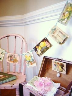 Vintage Easter Post Card Garland by VintageScraps on Etsy, $14.00........ would be cute as a diy with christmas cards....