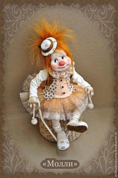 Купить Молли - клоунесса, цирк, подарок женщине, подарок девушке, авторская кукла, текстиль