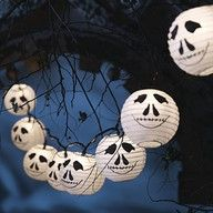Mr Bones Paper Lanterns.  C'mon, it's 'Bone Daddy!'  Halloween with Tim Burton ~~ Halloween Party Decorations & Ideas