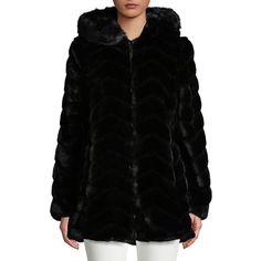 Portrait Women's Petite Velvet Faux Fur Hooded Coat ($109) ❤ liked on Polyvore featuring outerwear, coats, black, faux coat, faux fur hood coat, portrait coats, fur-lined coats and petite coats