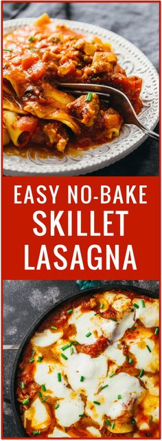 Easy no-bake skillet lasagna recipe - Fast weeknight lasagna can be a reality with this easy, no-bake skillet lasagna recipe with sweet Italian sausage, onions, and fresh mozzarella cheese.