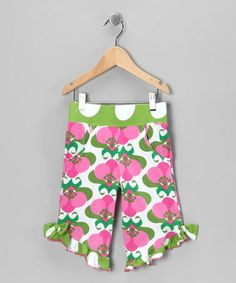 $12. Take a look at this Pink Mod Flower Ruffle Capri Pants - Toddler & Girls by Corky's Kids on #zulily today!