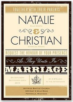 Autumn Typography Wedding Invitation by David's Bridal #fallweddings