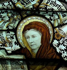 St Anna the Prophetess  Detail of window by CE Kempe    Bishop Burton, East Yorkshire