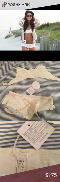 """Chloe Donna mare medium swimsuit nwt size 44 NEW WITH TAGS MSRP:  $325.00 SIZE:  SMALL   42 Authentic Chloé  Two-Piece Black Scalloped Bikini  Scalloped edges punctuate this textured bikini set, featuring a structured push-up top and a full-coverage bottom. Removable halter strap Bandeau top Seamed underwire cups Back clasp closure with """"CHOLE"""" engraved Stretch bottom Lined Polyamide/elastane Hand wash Made in Italy Chloe Swim Bikinis"""