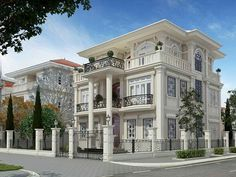 Cool House Designs, Modern House Design, Fachada Colonial, Village House Design, French Style Homes, Contemporary House Plans, Fantasy House, Modern Mansion, 3d Home